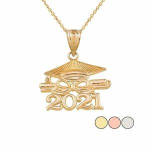 14k Gold Class of 2021 Graduation Diploma Necklace